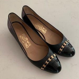 "Salvatore Ferragamo black 1 1/2"" heel shoes"